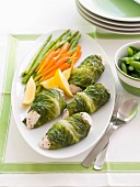 Swiss chard and chicken roulades with vegetables