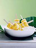 Mango-vanilla-yogurt popsicle