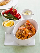 Grilled seafood with vegetables and garlic mayonnaise (Spain)