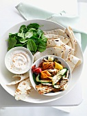 Grilled vegetables with haloumi and tortillas