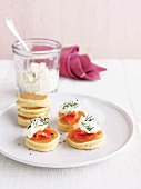 Canapes with smoked salmon and dill