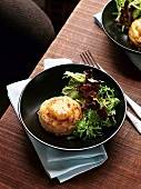 Goat's cheese souffle with spinach