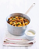 Penne pasta with sausages and mushrooms