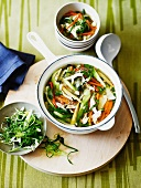 Chinese vegetable soup with chicken and glass noodles