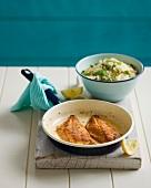 Fried fish fillets with lemon and pistachio couscous