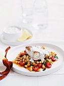 Barramundi fillet with mint yogurt and chickpeas