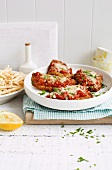 Veal escalope with tomatoes and parmesan cheese