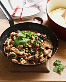 Stir-fried chicken and mushrooms with a buttermilk sauce
