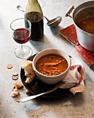 Spanish lentil soup with chorizo and black pudding