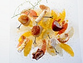 Scallop salad with lobster and grapefruit