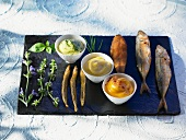 Sardines, anchovies and young mackerel with mayonnaise