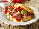 A bacon and tomato sandwich