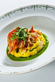 Saffron risotto with lobster and octopus