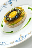 Citrus fruit jelly with caviar and egg