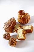 Brioche with sugar crystals and nuts