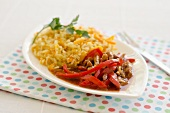 Orange and pepper beef with rice