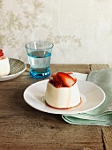 Panna cotta made from sheep milk yogurt with strawberries