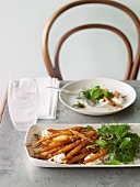 Baby carrots with labneh and herb salad