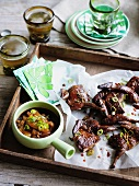 Smoked quail with mandarin-ginger sauce