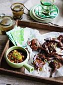 Smoked quail with mandarin-ginger sauce
