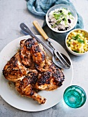 Caribbean jerk chicken with coconut rice and pineapple relish