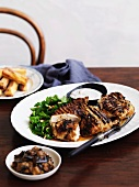 Moroccan chicken with parsley salad, yogurt, eggplant and chickpea croquettes