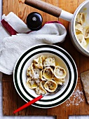 Home made tortellini with Bolognese filling