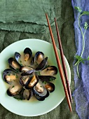Mussels in Miso Broth with Chopsticks