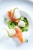 Salmon trout fillet with yarrow and a herb sauce