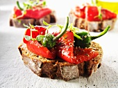 Toasted rye bread with roasted peppers and chili peppers