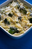 Cheesy Pasta and Broccoli Bake; In Baking Dish