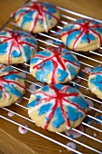Union Jack Shortbread Cookies on a Cooling Rack