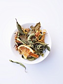 Joy herb tea with dried oranges