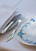 A festive plate and silver cutlery