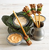 Grissini witches brooms with dips for Halloween