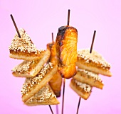 Grilled salmon and sesame toast on skewers