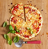 Tortilla pizza with tomatoes and cheese