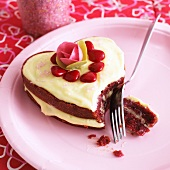 A heart-shaped cake for Valentine's Day