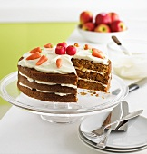 Apple and carrot cake, sliced
