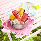 Fruit ice lollies for children's birthday party