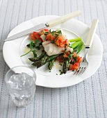 Cod fillet with tomato salsa and asparagus