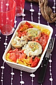Fish roulade with pasta and tomatoes
