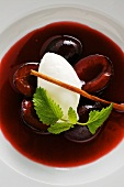 Preserved plums with sour milk sorbet