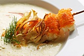 Fennel soup with Pernod and a crab kebab