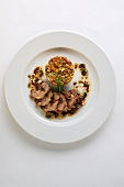 Chanterelle mushroom tartar with veal liver and chive vinaigrette