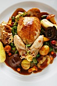 Stuffed quail with autumnal vegetables