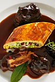 Leek strudel with oxtails
