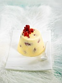 White chocolate parfait with raspberries