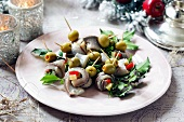 Herring rolls with olives for Christmas dinner