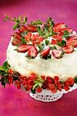 A layered strawberry cake